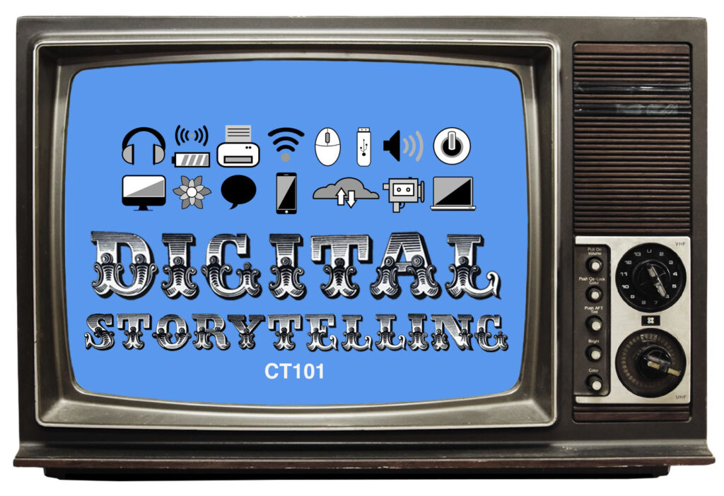 """""""The ct101 digital storytelling logo placed inside of an old tv set"""""""